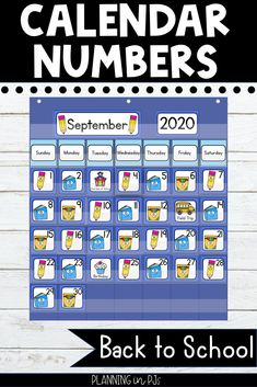 Back to School Calendar Numbers for your classroom calendar - perfect to start off the year! Includes school supply themed calendar numbers in an ABC pattern - pencils, books and boxes of markers, matching month labels, year cards, and special days/holiday cards. Number Writing Practice, Writing Numbers, Calendar Activities, Apple Activities, Classroom Calendar, School Calendar, Month Labels, Letter Flashcards, Calendar Numbers
