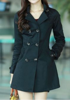 Stylish Turn-Down Collar Long Sleeve Double-Breasted Pocket Design Women's Trench Coat