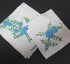 1970s Vintage Hand Painted Tablecloth with 3 Matching Napkins in Blue Flowers on White Cotton, Vintage Linens, Tablecloths, 1970s Home Decor by VictorianWardrobe on Etsy