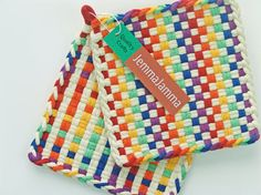 Fabric Pot Holders Woven Cotton Rainbow by JemmaJamma on Etsy