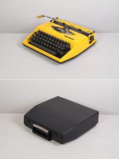 1970s Triumph Tippa Typewriter. Excellent fully working conditon. Yellow. German portable vintage typewriter. With Case.