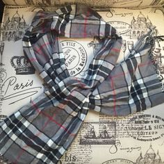 Plaid Scarf ••PERFECT CONDITION•• plaid scarf. Colors include: gray, black, white and red. •Make me an offer! Anything is negotiable!• Accessories Scarves & Wraps