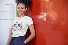This American Dog t-shirt is everything you've dreamed of and more. It's comfortable and flattering for both men and women. American Dog, Girl Empowerment, Doodle Designs, Fabric Weights, Shirt Designs, Girl Outfits, T Shirts For Women, Sexy, Funny