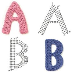 Crochet alphabet chart diagram