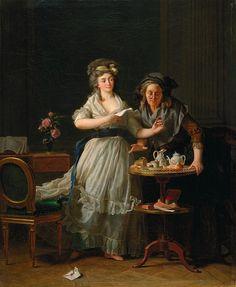"""Michel Garnier, """"La Lettre""""  방금 편지를 전해 받은 여인은 감정의 벅참을 이기지 못하고 자리에서 벌떡 일어났다. 그녀의 갑작스러운 행동에 깜짝 놀란 나이든 하녀는 컵을 엎질러버렸다. 얼마나 사랑하는 그이로부터 편지를 받았기에, 이 젊은 여인은 이토록 부산스럽게 행동하는 것일까. 확신에 찬, 동시에 기대가 큰 눈빛으로 미소를 머금은 그녀는 자신이 편지 봉투를 바닥에 떨구었다는 사실도 모르는 것 같다. 아직도 의자를 붙잡고 있는 그녀의 치맛자락은 그녀가 이런 흥분을 잘 보여주고 있다."""