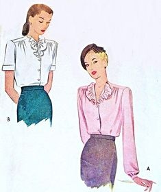 BEAUTIFUL Blouse Pattern McCALL 5759 Two Blouses,Ruffled Collar Styles WW II Era Bust 30 Vintage Sewing Pattern -Authentic vintage sewing patterns: This is a fabulous original dress making pattern, not a copy. Because the sewing patterns are vi Vintage Style Dresses, Blouse Vintage, Vintage Outfits, 1940s Fashion, Vintage Fashion, Make Your Own Clothes, Dress Making Patterns, Ruffle Collar, Vintage Sewing Patterns
