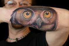 Owl Butterfly Tattoo | Owl Face Tattoo on Forearm Tattoo by Paris Pierides