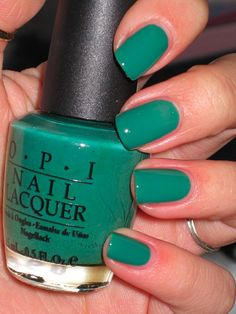 "wearing this amazing color right now! ""jade is the new black"" by OPI is my favorite nail polish i have worn all fall. it doesn't chip, and has a shiny clean finish."