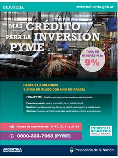 Cafydma (Cámara de Fabricantes de Muebles Tapicería y Afines) comparte está información:  Más Crédito para la Inversión PYME!!!