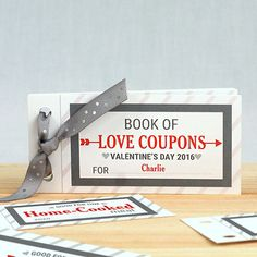 Love Coupon Book This Book of Love Coupon Book is an excellent addition to your Valentines Day Keepsake for him. Personalized with any one line message and any name, this Coupon Book takes your Valentines Day Gift to a whole new level. Measures approx: 5 L x 2.5 H Includes 11