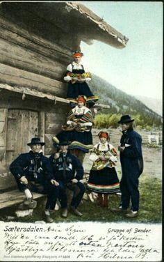 Bunadskort Sætesdalen gruppe av bønder Utg Axel Eliassons Förlag brukt 1903