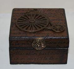 Rusty Penny Farthing Trinket Box, Cufflink Box, Earring Box £6.00