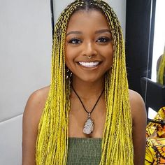 # box Braids hairlook 5 Best French Braid Tutorials For All Textures of Hair # box Braids hairlook # box Braids hairlook Mello Yellow/Simple long yellow plats. This lady smiles proudly while wearing her fashionable head of yellow braids. Cute Box Braids Hairstyles, Crochet Braids Hairstyles, Braided Hairstyles For Black Women, Braids For Black Women, Braids For Black Hair, Ombre Box Braids, Box Braids Pictures, Colored Braids, Yarn Braids