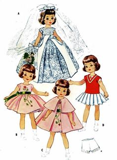 Betsy McCall Lingerie Lou Doll Clothes PATTERN 2323 for 14 inch Slender dolls #McCalls2323