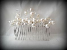 Wedding hats, bridal hair accessories and fascinators on Folksy Bridal Fascinator, Bridal Comb, Fascinators, Gem Hair, Crystal Beads, Crystals, Wedding Hats, Ivory Pearl, Hat Hairstyles