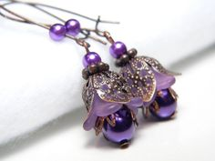 Fairy Belle Floral Earrings in Lavender Lucite by judysmithdesigns, $14.95