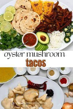 These vegetarian OR vegan birria tacos are made with a tender, juicy, roasted marinated meaty oyster mushroom filling topped with salsa, various toppings, and fresh cilantro for flavorful meat-free oyster mushroom tacos ready in under an hour!
