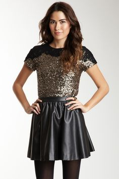 Antik Batik Ricci Sequin Blouse// sequin blouse. leather skirt. black tights.