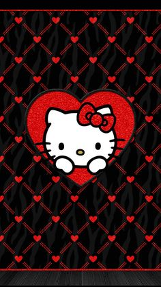 iPhone Wall: Valentine's Day. Hello Kitty on black with red hearts Inspirational Phone Wallpaper, Wallpaper Iphone Love, Cool Wallpapers For Phones, Friends Wallpaper, Cute Wallpapers, Valentine Wallpaper, Screen Wallpaper, Quotes Inspirational, Wallpaper Quotes