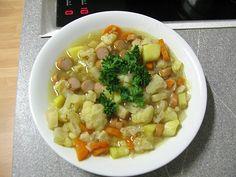 Blumenkohl - Käse - Suppe mit Hackfleisch