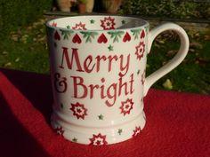 EMMA BRIDGEWATER HAND SPONGED CHRISTMAS JOY STAR  MERRY & BRIGHT  NEW/1ST