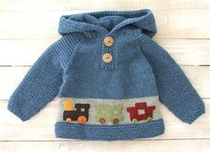 Boys Clothes Hoodie 100% Wool Hand Knitted by SilverMapleKnits