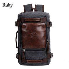 [ $26.53 ] 2016 New Fashion Large Capacity Rucksack Men's Canvas Backpack MULTIFUNCTION Leisure Travel Men's Laptop Backpacks bag