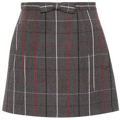 Miu Miu Check Wool Miniskirt ($1,200) ❤ liked on Polyvore featuring skirts, mini skirts, bottoms, grey, grey wool skirts, checkered skirt, short skirt and checkered mini skirt