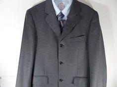 38S Baroni Super 150 Mens Charcoal Sport Coat Blazer Suit Jacket  #Baroni #ThreeButton