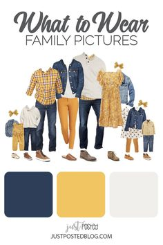 family photo outfits Mustard yellow and Navy make up this picture perfect family look for a fall or winter family photo. This link has 8 different options for what to wear for fami Navy Family Pictures, Family Pictures What To Wear, Winter Family Photos, Adult Family Photos, Family Family, Family Room, Fall Family Picture Outfits, Family Picture Colors, Family Portrait Outfits