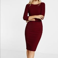 Express Dresses - Zip back ribbed sheath dress in burgundy