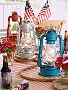 For unique DIY 4th of July decorations, spray-paint matching antiques or thrift store finds with metallic red, white, or blue paint. #redwhiteandblue #4thofjuly #4thofjulyparty #partyideas #4thofjulydecorations #bhg 4th Of July Celebration, 4th Of July Party, Fourth Of July, 4th Of July Games, Happy Birthday America, 4th Of July Desserts, Lantern Centerpieces, Paint Matching, 4th Of July Decorations