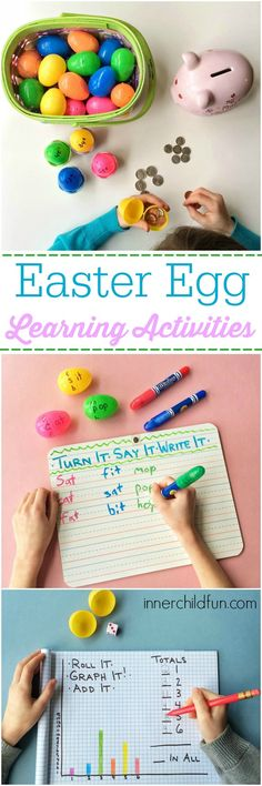 Easter Egg Learning Activities - After reading this post, you won't want to throw away those leftover plastic Easter eggs. Here are just a few examples of some simple Easter egg learning activities that you can try at home! Early Learning, Learning Activities, Kids Learning, Teaching Ideas, Steam Activities, Learning Centers, Teacher Resources, Easter Activities For Kids, Spring Activities