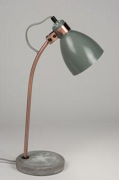Tafellamp 72259: Modern, Retro, Grijs, Roodkoper