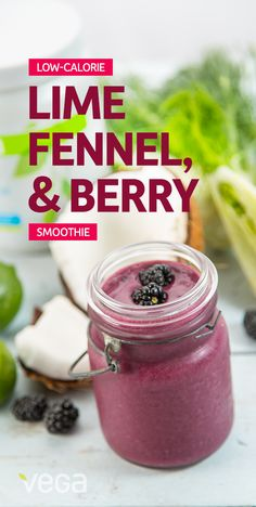 Low-calorie Lime, Fennel & Berry Smoothie Recipe: This berry smoothie recipe comes in at under 200 calories (when made with Protein Smoothie), and combined with fennel, contains 3 servings of vegetables and greens. Beat that, morning munchies…#VegaSmoothie #BestSmoothie