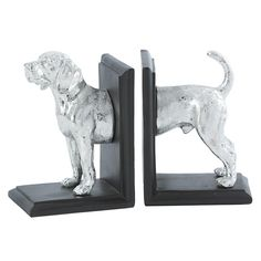Silver Hound Bookends
