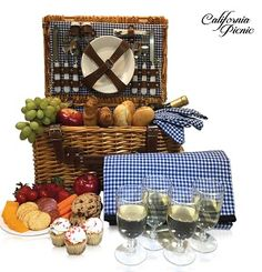 Picnic Basket Set - 2 Person Picnic Hamper Set - Waterproof Picnic Blanket Ceramic Plates Metal Flatware Wine Glasses S/P Shakers Bottle Opener Blue Checked Pattern Lining Picnic Set Picnic Basket Set, Picnic Set, Picnic Time, Summer Picnic, Picnic Plates, Waterproof Picnic Blanket, Plastic Wine Glasses, Shaker Bottle, Flatware Set
