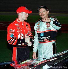 Dale Earnhardt and Dale Earnhardt jr. Finishing the race.