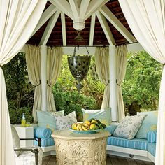"very pretty gazebo, with interesting ""reverse"" construction detail in the roof lines. This gazebo has curtains to protect from elements and enough pillows to nap for hours. Outdoor Gazebos, Outdoor Rooms, Outdoor Living, Outdoor Decor, Outdoor Curtains, Gazebo Curtains, Outdoor Retreat, Porch Gazebo, Backyard Gazebo"