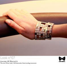 Seen at #JLCandAlexisMabille fashion show: the #Joaillerie 101 #Manchette #timepiece. Technical details: 18-carat White Gold, 1440 diamonds, Hand-winding movement