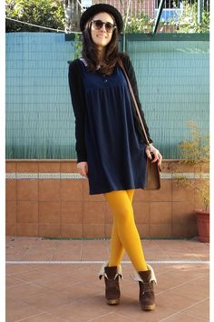 Discover this look wearing Crimson Bershka Wedges, Navy BLANCO Dresses, Mustard Zara Tights - Mixing colours by indiegirlstyle styled for Modest, School in the Fall Yellow Tights, Yellow Sweater, Yellow Dress, Black Cardigan, Navy Dress Outfits, Dresses, Tights Outfit Winter, Color Combinations For Clothes, Cute Fall Outfits