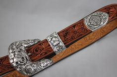 "Seidel's Saddlery buckle, large 1 1/2"" buckle set with bucking horse and Indian head.  Seidel's Saddlery.  www.seidelsaddlery.com"