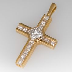 Princess Cut Diamond Cross Pendant 18K Yellow Gold