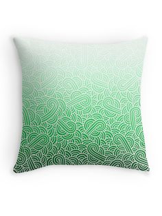 """Ombre green and white swirls zentangle"" Throw Pillow by @savousepate on @redbubble #throwpillow #homedecor #pattern #drawing #doodles #zentangle #abstract #ombregreen #green #pastelgreen #emerald #mint #white #irish #stpatricksday #saintpatricksday #gradientgreen"