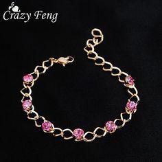 Fashion Gold-color Pink Crystal Beads Chain Bracelet Cubic Zirconia Rhinestone Bracelets For Women Jewelry