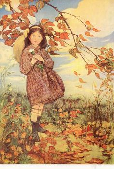 Autumn breeze, Jessie Willcox Smith (September 6, 1863 – May 3, 1935)  - a United States illustrator famous for her work in magazines such as Ladies Home Journal and for her illustrations for children's books.