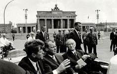 Kennedy, Brandenburg Gate, Berlin, Germany in open car with Willy Brandt & Konrad Adenauer West Berlin, Berlin Wall, John F. Kennedy, Kennedy Speech, Berlin Hauptstadt, History Magazine, American Presidents, Cold War, World War Two