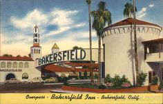 An poster sized print, approx (other products available) - Bakersfield Inn, luxury hotel in Bakersfield, Kern County, USA. Date: circa 1940 - Image supplied by Mary Evans Prints Online - Poster printed in the USA Bakersfield California, California Art, Vintage California, Southern California, Kern County, Canvas Prints, Art Prints, Motel, Vintage Postcards