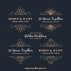 Ornamentos decoraticos de bodas de oro