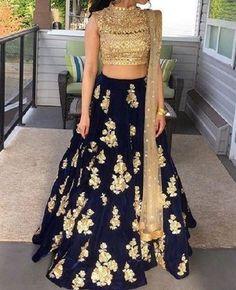 FatimaBi Plus size Dress Rajasthani Lehanga Choli Dark Navy Color Partywear #FatimaBi #LehegaCholi